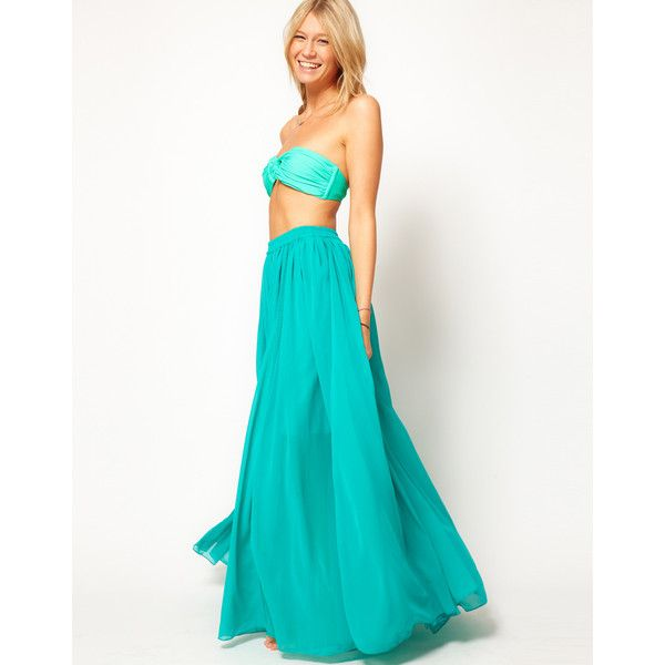 Asos Maxi Skirt With Broderie Inserts ($79) via Polyvore