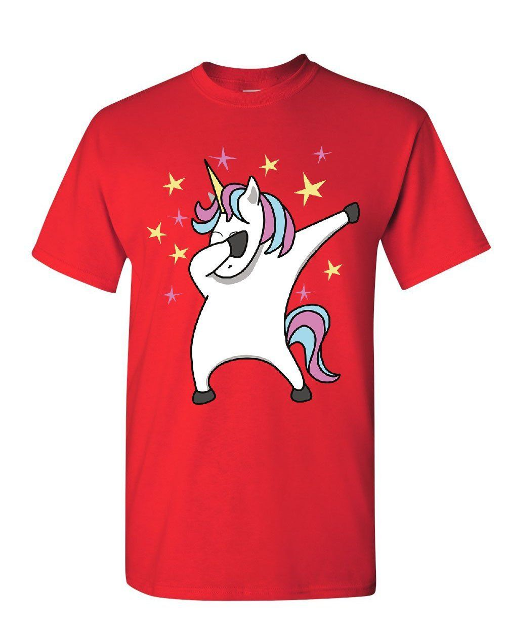 Unicorn Dab Dancing T-Shirt Fabulous Rainbow Sparkling Pony Star Mens Tee Shirt