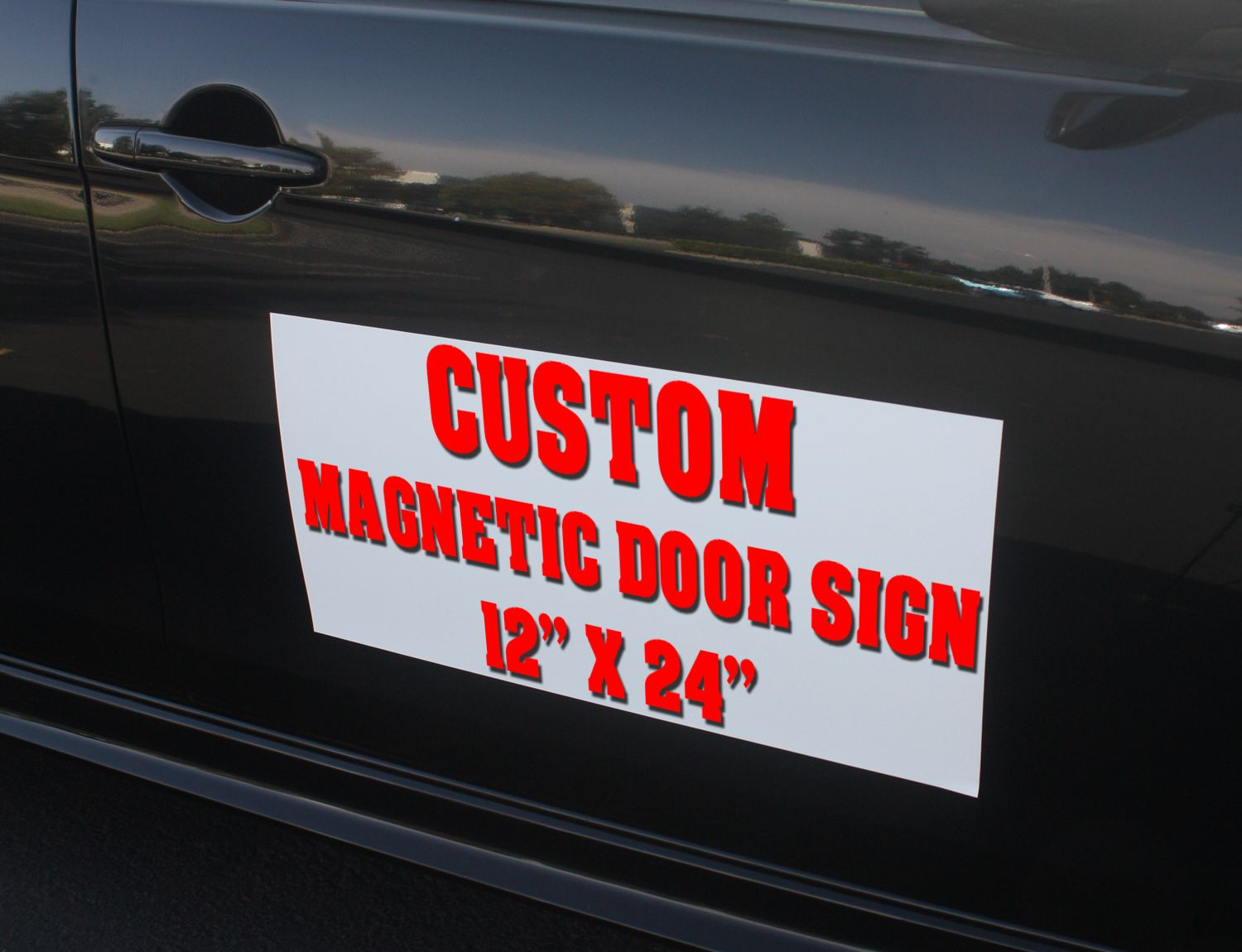 Custom car magnetic sign dimension 12 t x 24 l advertise your business while driving on the road best way to attract local customers