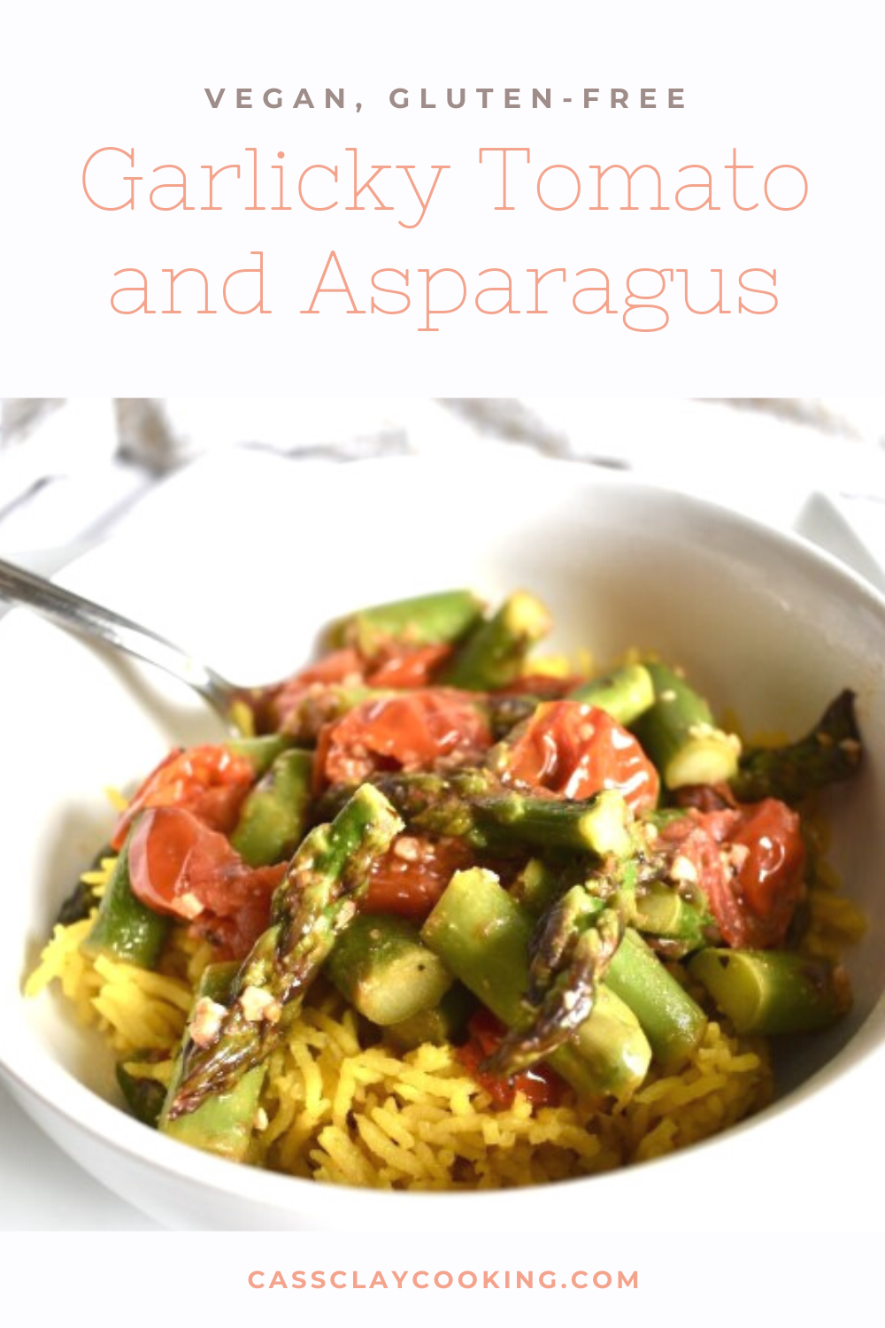 An easy veggie packed dinner that can be whipped up in under 20 minutes, this delicious skillet meal is perfect to use up any veggies that may be starting to go bad. Simple and easy to make, this goes great with leftover rice, quinoa, or even pasta. #pasta #rice #tomato #asparagus #vegan #veganmeal #veganrecipe #eatyourveggies #plantbased #glutenfree #garlic #meatlessmonday #meatlessrecipe #meatlessmeal #vegetarianeats #vegetarianrecipe