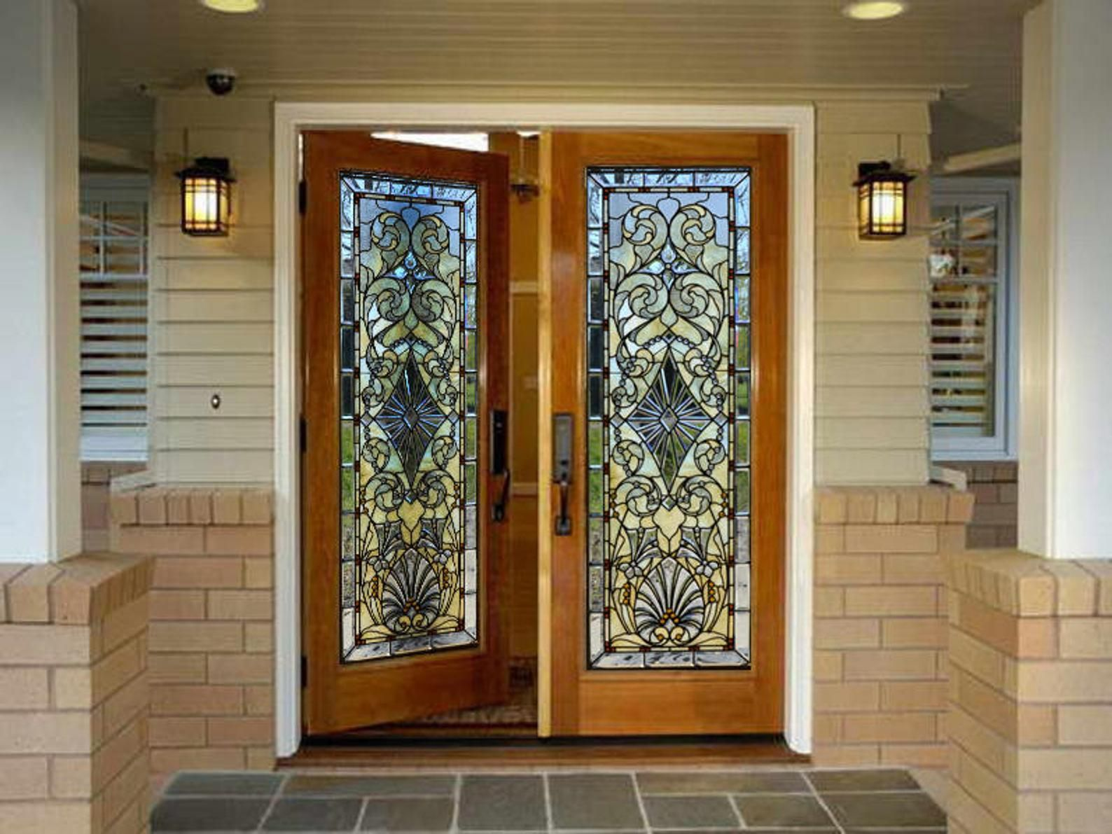 Door Wall Sticker Stained Glass With Bevels Self Adhesive Etsy Stained Glass Door Door Wall Double Glass Doors