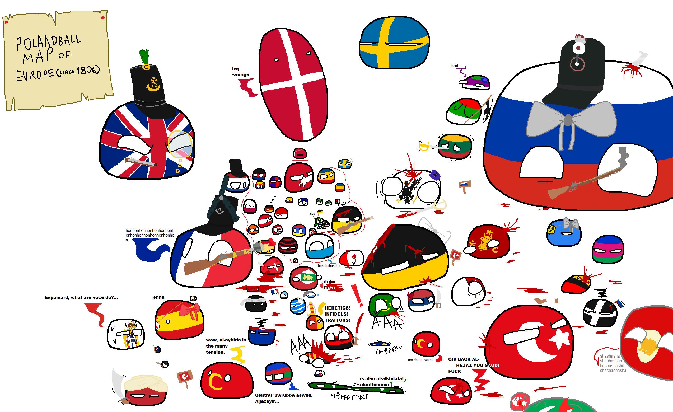 Polandball Map Of The World 2017.Polandball Map Of Europe Circa 1806 Polandballs Countryballs