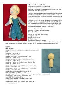 Elsa Crocheted Doll Pattern Designed And Crocheted By Becky Ann Smith Disclaimer I Do Not Own Or Make A Frozen Hakeln Disney Hakeln Hakeln Spielzeug Muster
