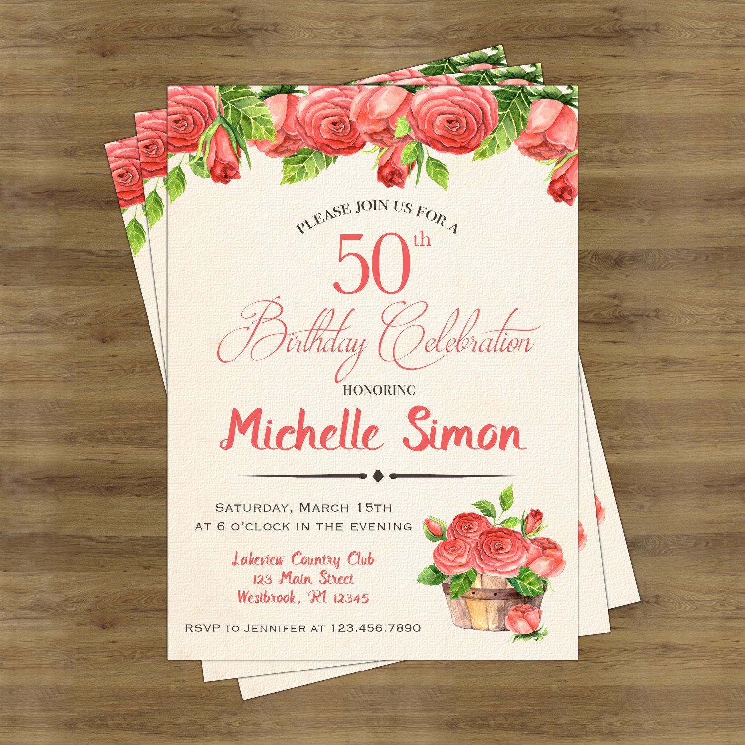 50th Birthday Invitation for Her Birthday Invitations for Women