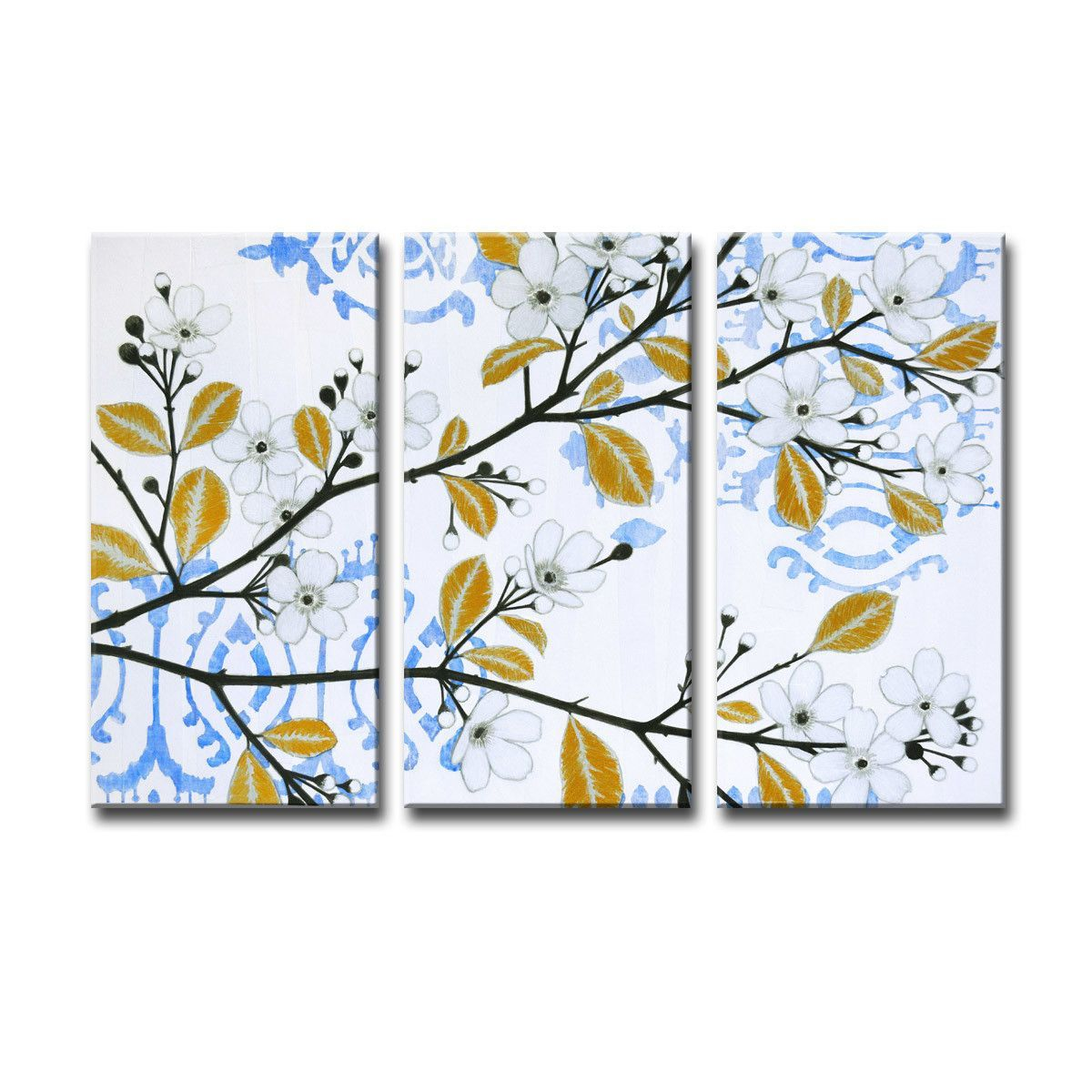 'Ikat Cherry Blossom' by Norman Wyatt Jr. 3 Piece Graphic Art on Canvas Set