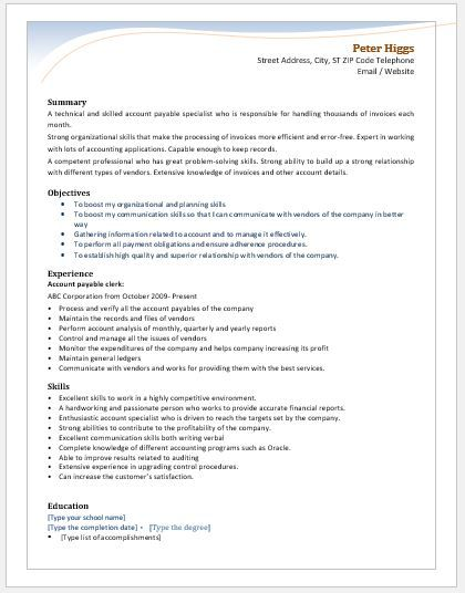 Accounting Specialist Resume Enchanting Account Payable Clerk Resume Download At Httpwriteresume2 .
