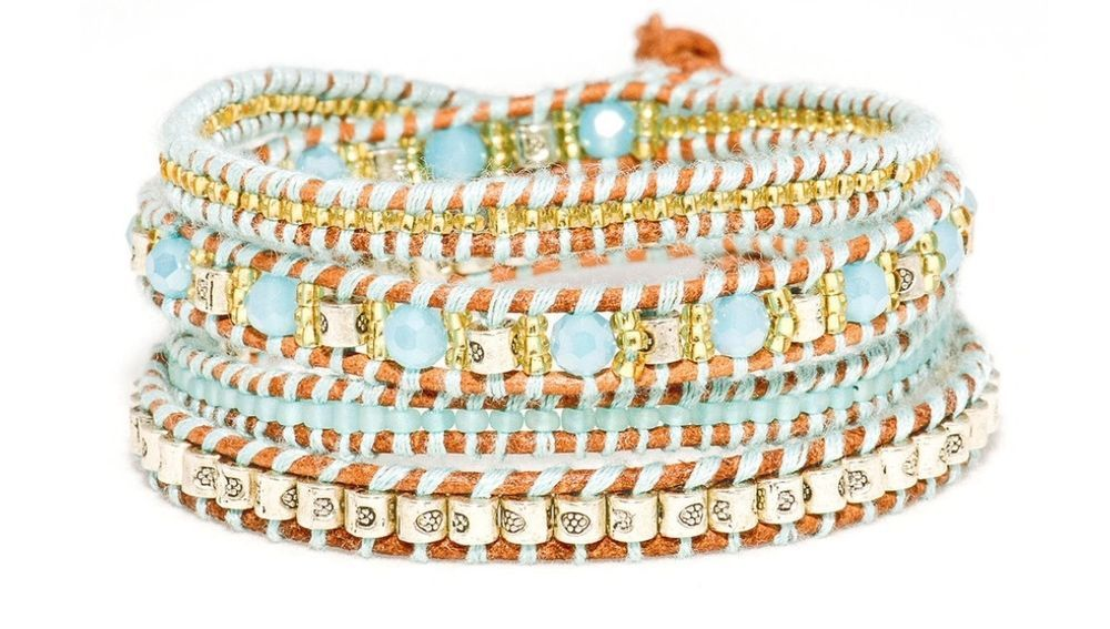 Beads & Crystal Krabi Quad Wrap Bracelet by Boho Betty #BohoBetty #Wrap