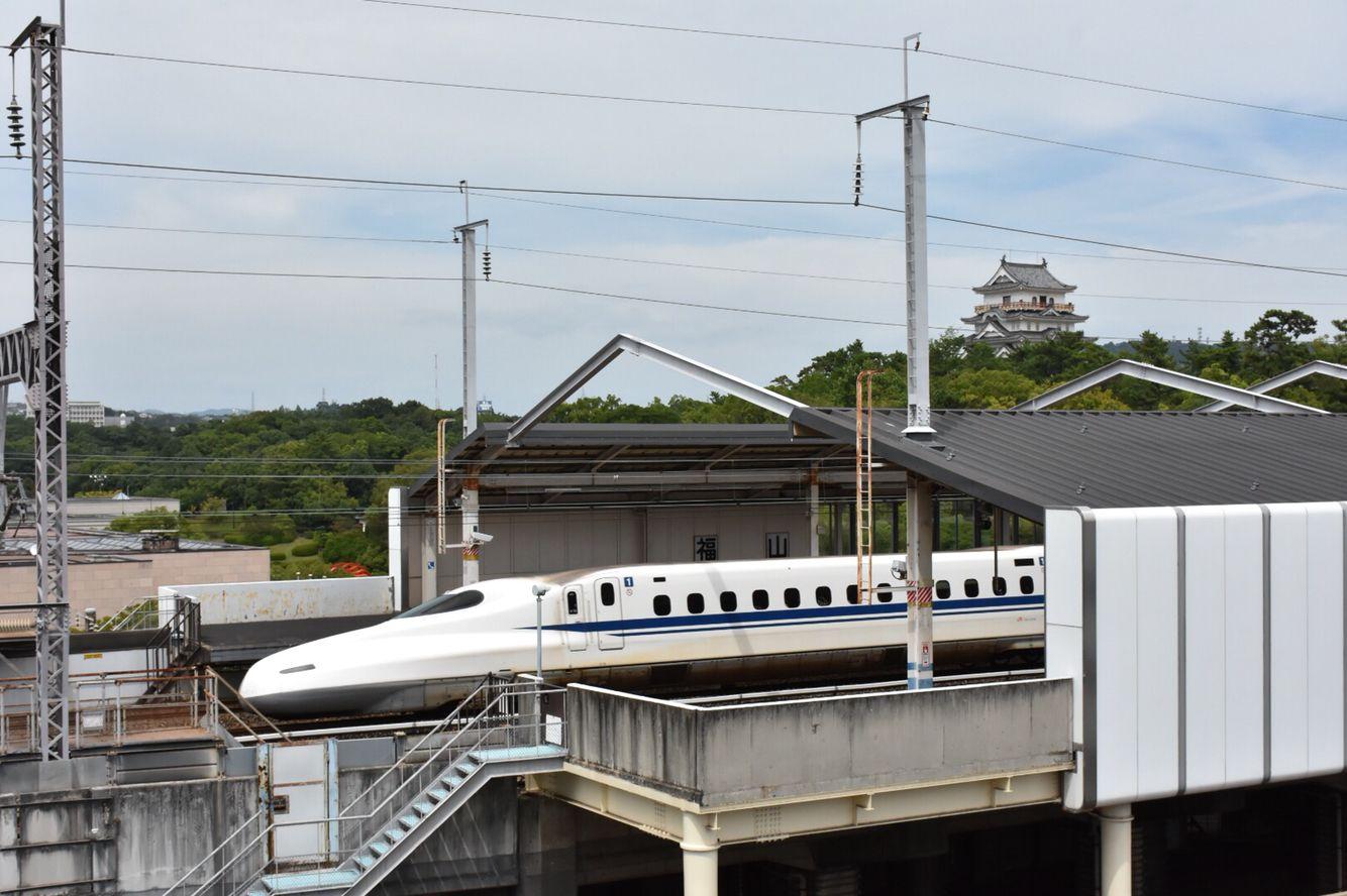 福山城と新幹線