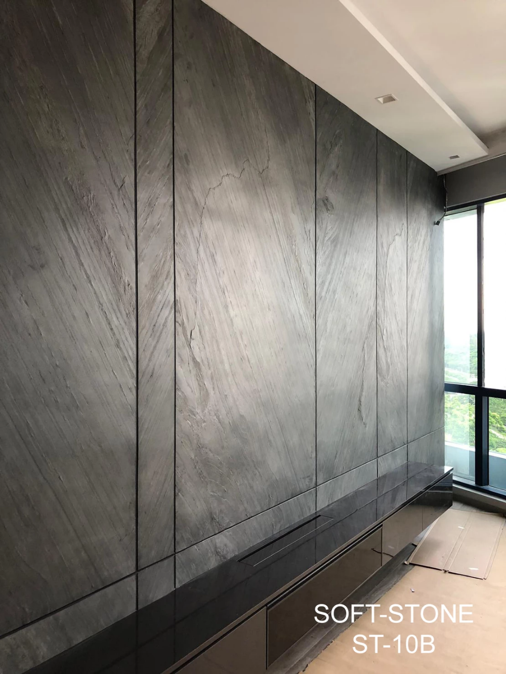 Grey Colour Stone Wall Feature Panel Design Wall Panel Design Tv Feature Wall Best Ceiling Designs