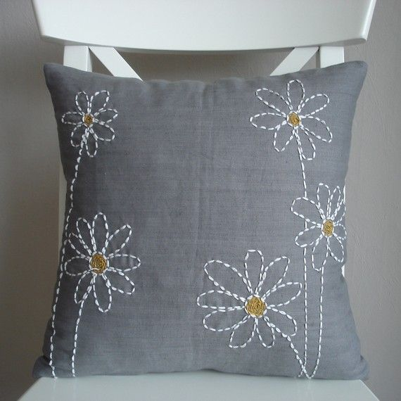 Daisy Embroidery Pillow Hand Embroidered Pillows Cushion Embroidery Embroidered Pillow Covers