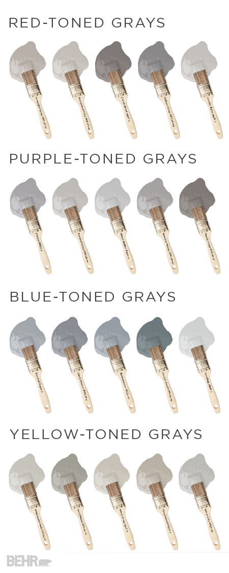 There's no such thing as a boring shade of gray. Check out this collection of gray interior paint colors from BEHR to see all the different shades that one color can offer. Yellow- and red-toned grays offer a warm greige hue that will make any room in your home feel cozy and inviting. Blue- and purple-toned grays, on the other hand, offer a more traditional look that pairs well with white accents.