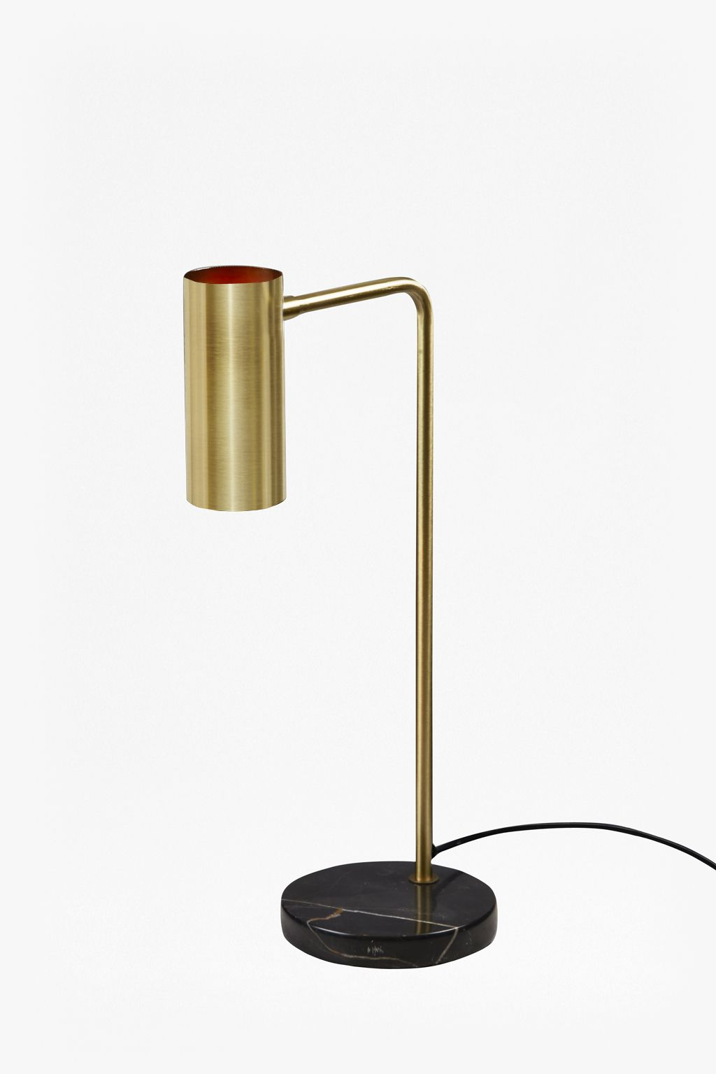 Brass and Black Marble Base Table Lamp