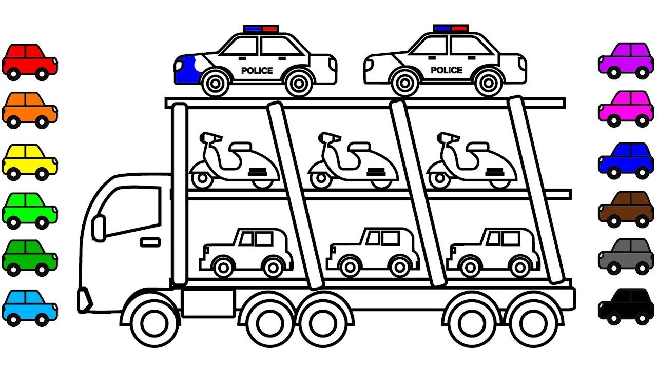 Learn Colors For Kids With Police Car Carrier Truck Coloring Pages