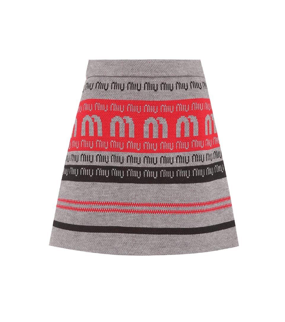 Miu Miu Logo woolblend knitted skirt Mytheresa Pakaian