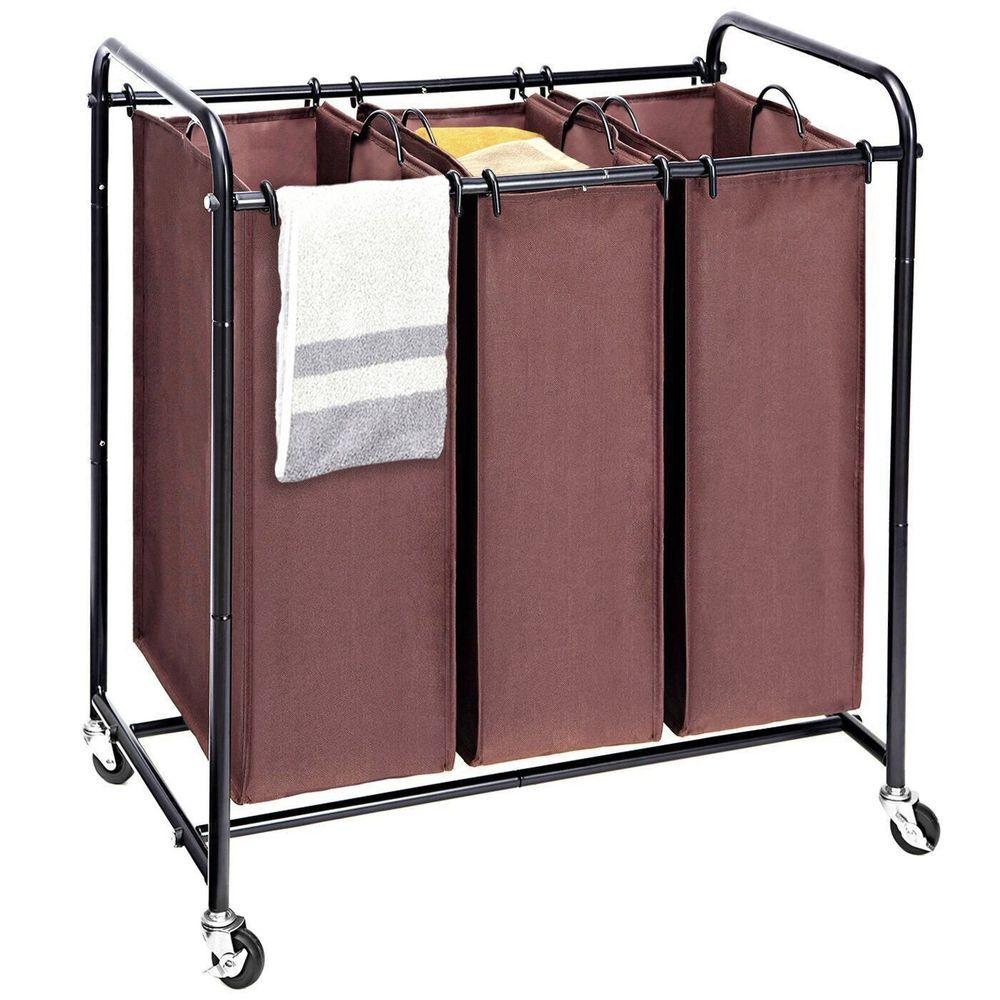 Laundry Sorter 3 Bag Heavy Duty Triple Laundry Hamper Rolling Cart