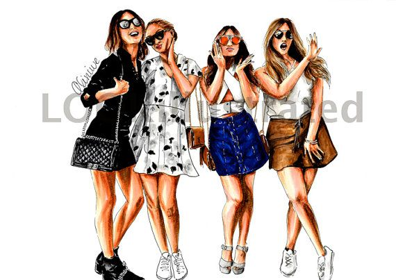 Custom Fashion Illustration Of 4 Persons By Lookillustrated