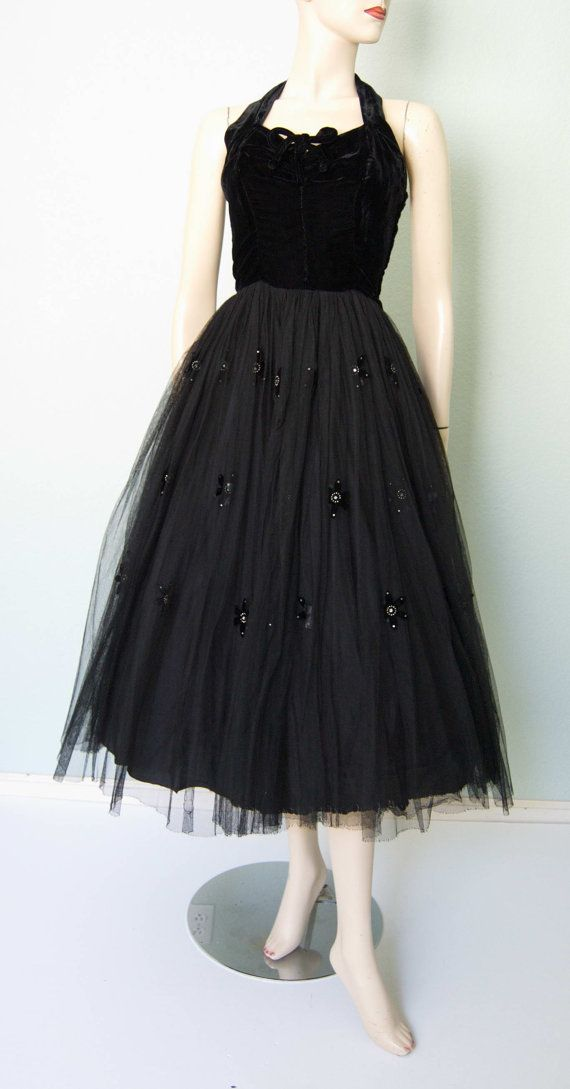 1950s Black Halter Party Dress with Appliques  by KittyGirlVintage, $85.00