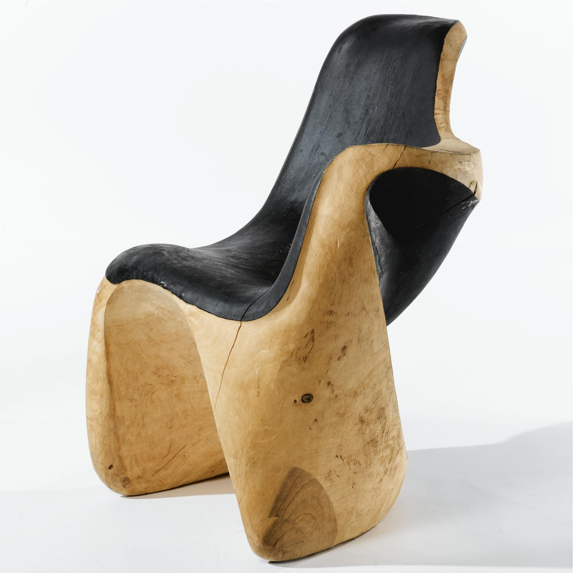 Mario DalFabbro; Carved and Partially Lacquered Wood Chair, 1970-1984.