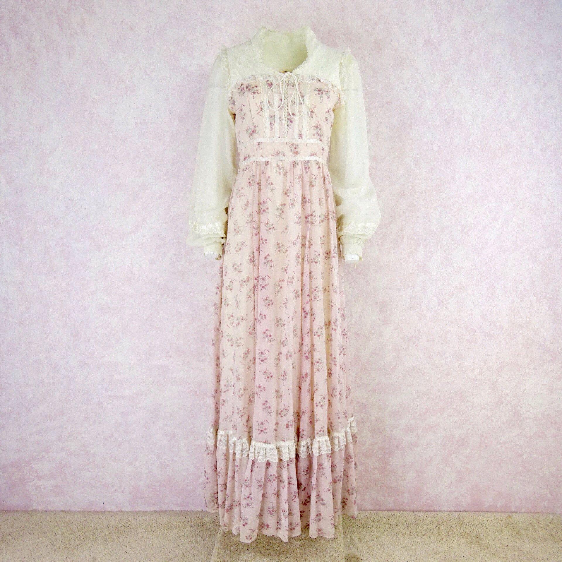 Vintage s gunne sax pale pink floral maxi dress gunne sax