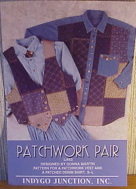 INDYGO JUNCTION INC. Patchwork Pair IJ443 Vest Pattern/Patched Denim Shirt S-L  #IndygoJunction