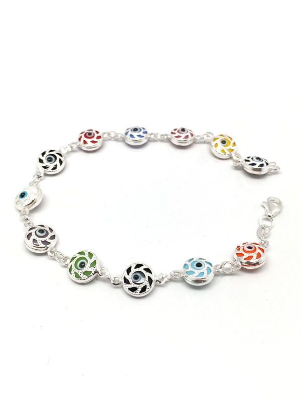 Double sided multi color 925 silver Evil Eye bracelet