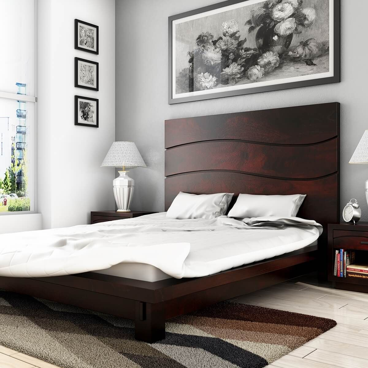 The Santa Barbara Solid Wood High Headboard Platform Bed Makes A Lovely Addition To Any Bedroom Suite Or Guest Ro Simple Bed Designs Simple Bed Wood Bed Design