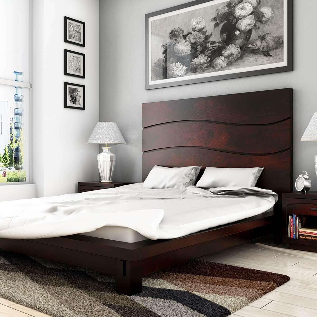 The Santa Barbara Solid Wood High Headboard Platform Bed Makes A