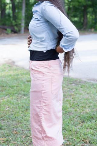Blush Colored Denim Skirt