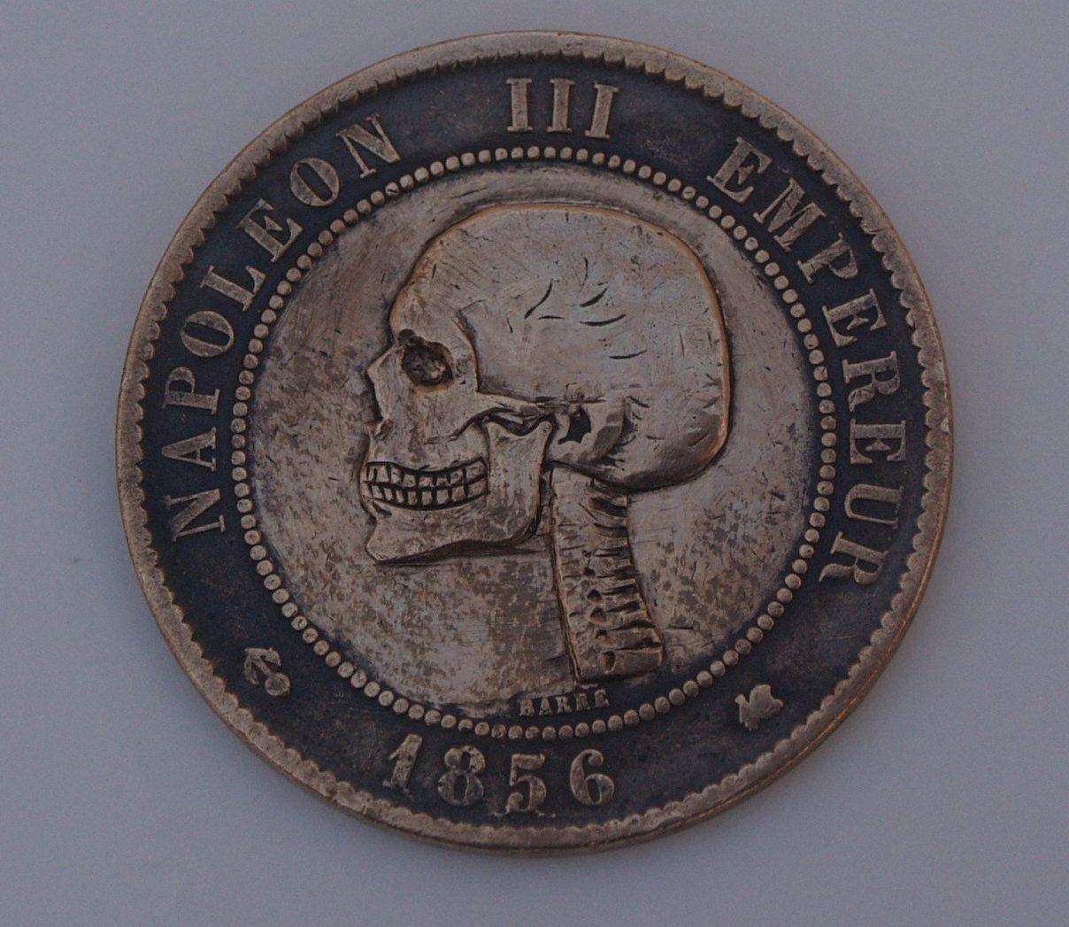 10-cent coin, 1856  Emperor Napoleon III, SKULL | hobo