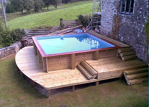 Pool please on pinterest swimming pools pools and decks for Above ground pool decks for small yards