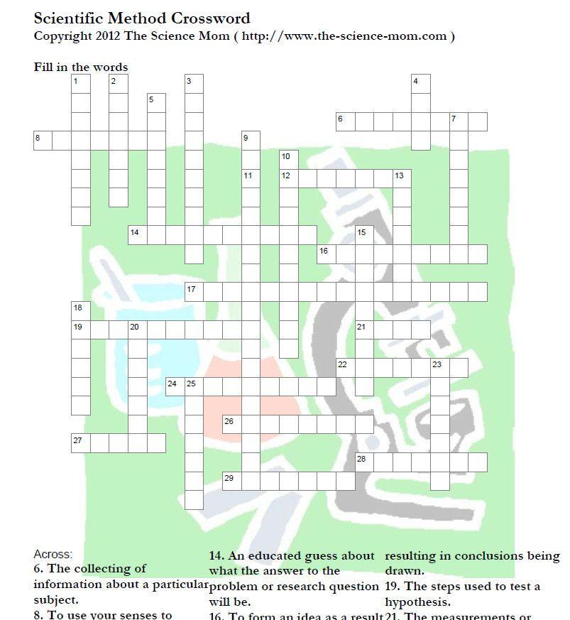 Scientific Method Crossword Puzzle Printable The Science Mom Scientific Method Science Crossword