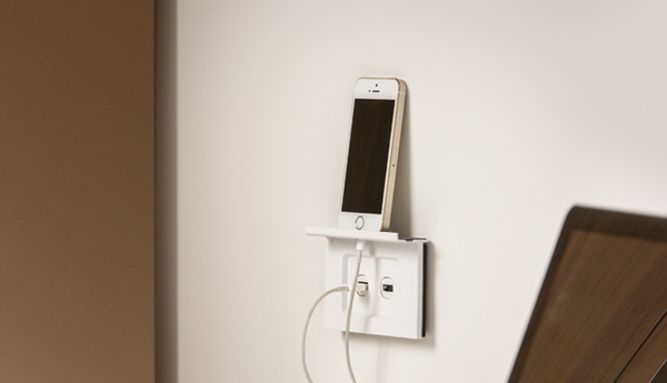 Designed to hold two smartphones or one tablet, the #SaturnZen Charger Shelf keeps your devices out of the way when charging. *Saturn Zen is available in Australia - #Clipsal by #SchneiderElectric