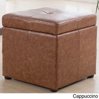Attirant Leatherette Upholstered Storage Cube Ottoman