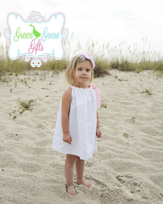 White Cotton & Lace Girl's Boutique Style Beach Inspired Pillowcase Dress (Sizes 6 Months-4T). $30.00, via Etsy.