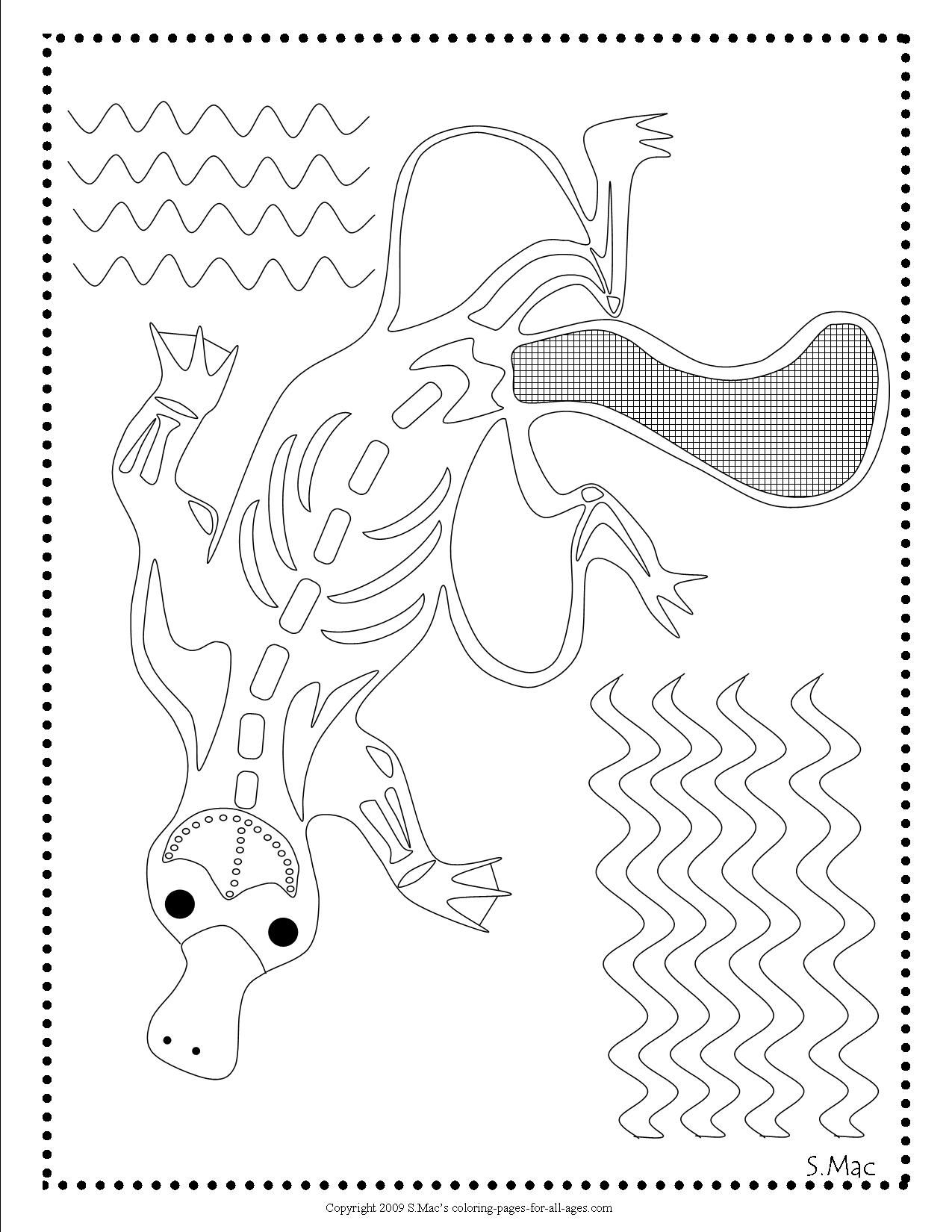 X Ray Art Platypus Coloring Page By S Mac Aboriginal Dot