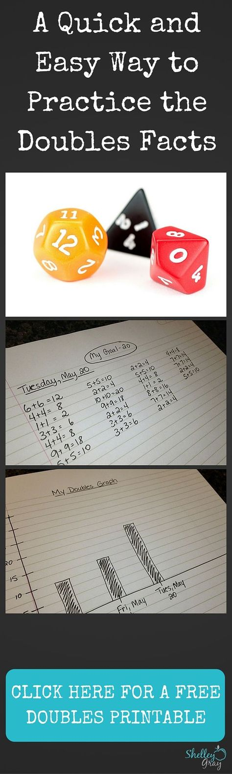 It is essential that students know their doubles facts. When students develop automaticity with their doubles, it paves the way for other mental math strategies, such as Doubles Plus One or Near Doubles. In order to develop automaticity, students need lots and lots of practice. Click for full instructions and for a FREE doubles printable.