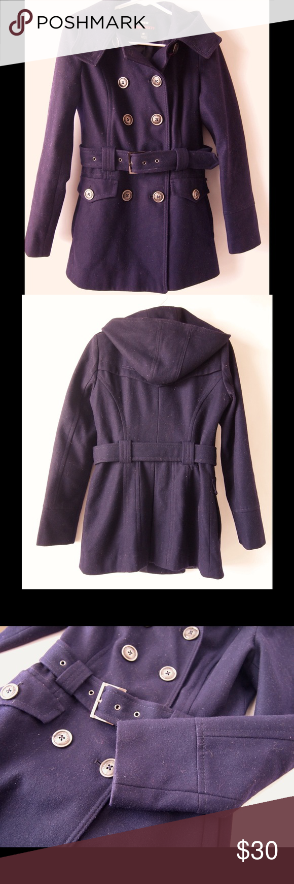 """Miss Sixty Purple Belted Hooded Wool Peacoat S Light signs of wear, no stand out issues.  Wool blend, fully lined.  Measurements- armpit- 18"""", waist - 30"""", shoulder - 14.5"""", back length 28"""", sleeve length from middle back collar to sleeve end is 31"""".  Size S. Miss Sixty Jackets & Coats Pea Coats"""