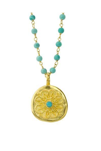 Baroni - Baroni Azalea Turquoise Mandala Bead Necklace from Osterjewelers.com
