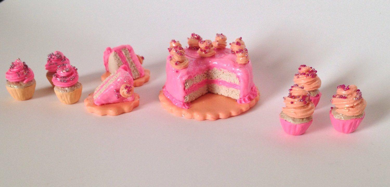 Barbie Doll House Sized Princess Sparkle Birthday Cake and Cupcakes Set by EvasSunshine on Etsy