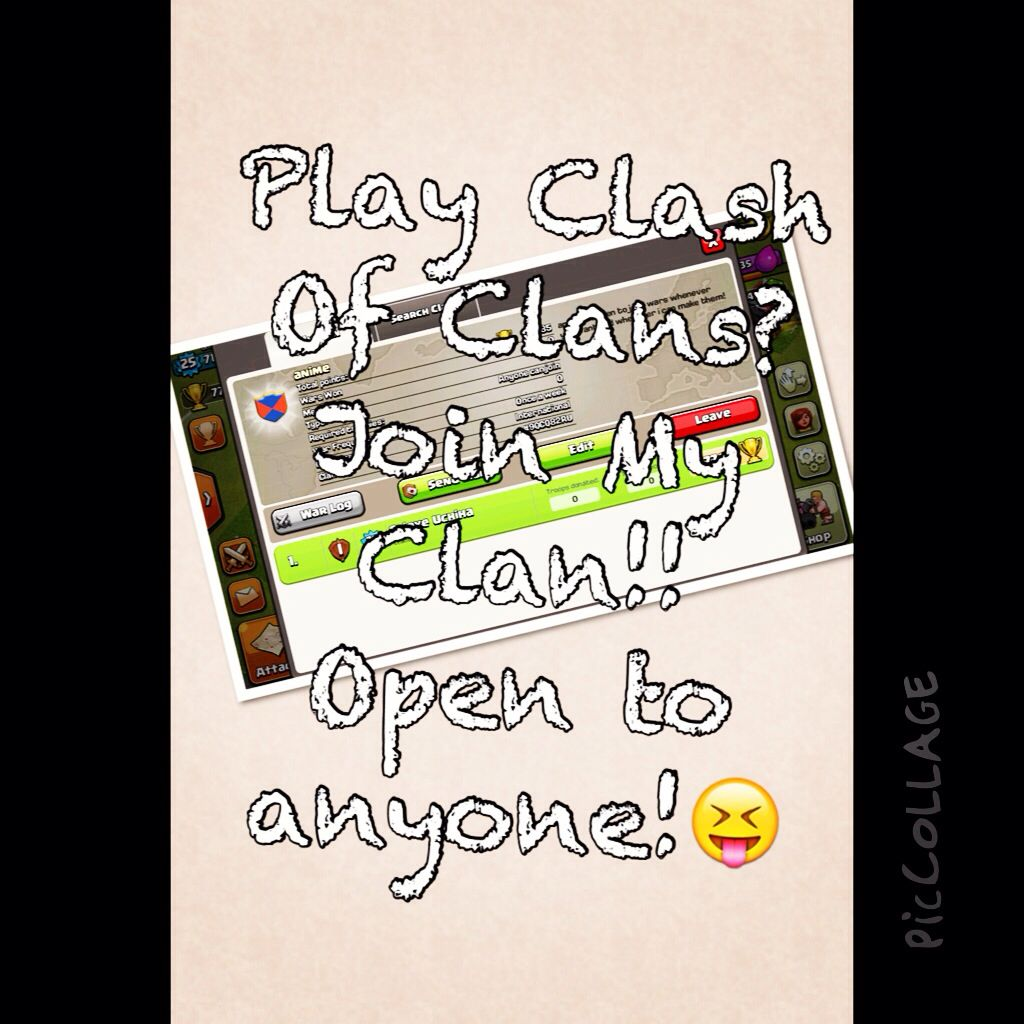 My clan name is anime! Join! Open to anyone of anywhere! #COC #clashofclans #anime #phonegames