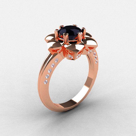 14k Rose Gold Black Diamond Wedding Ring By Naturesnouveau On Etsy 1449 00 Amethyst Wedding Rings Blue Sapphire Wedding Ring Emerald Wedding Rings