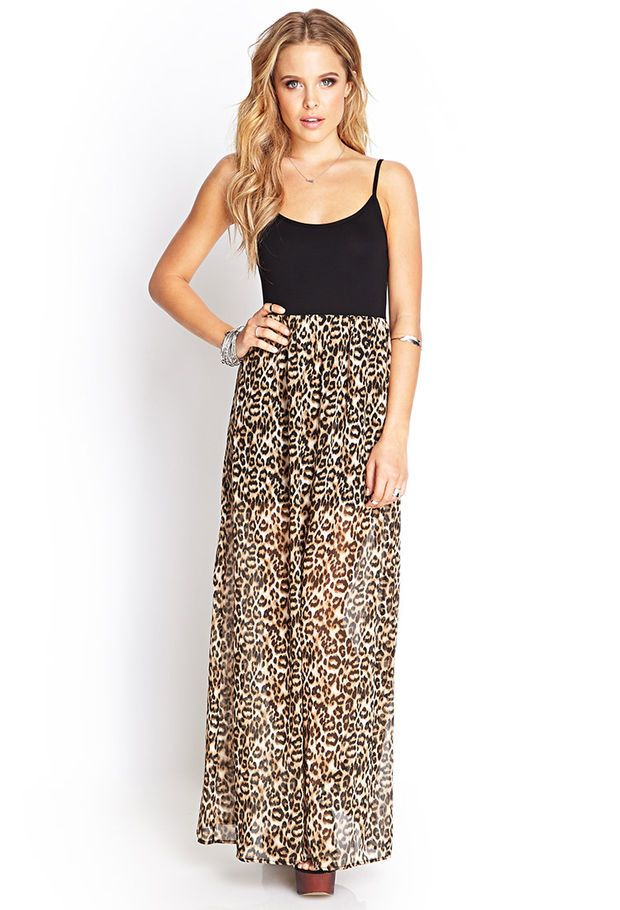 fc218c6c836 FOREVER 21 Leopard Print Maxi Dress Black/Taupe | Sexy sassy and ...