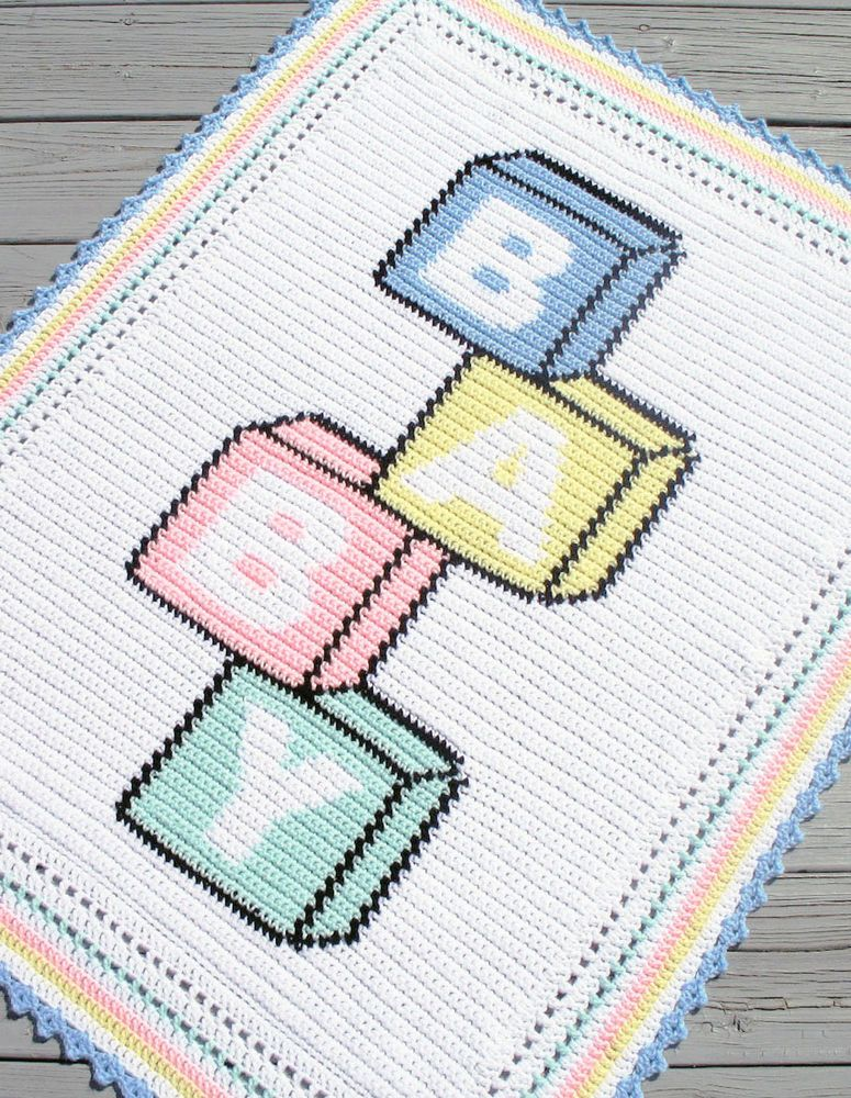 Crochet Patterns-BABY BLOCKS Color Graph Afghan Pattern ...