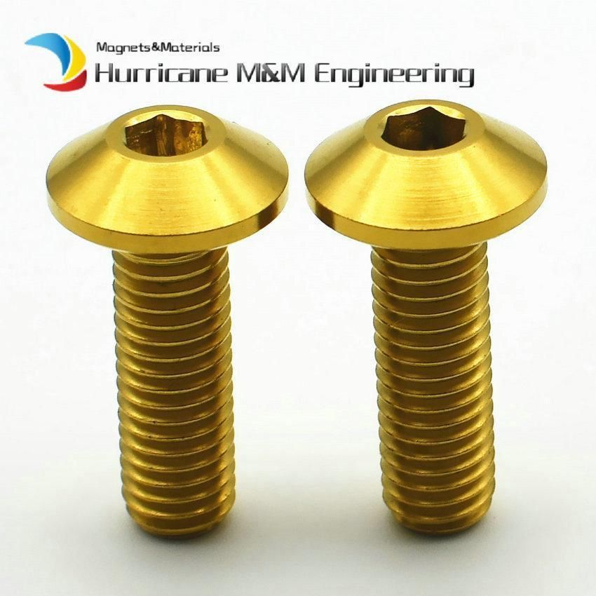 2/6/50pcs Ti Bolt M8 x25mm DIY MTB Titanium Bolt Steel and Gold
