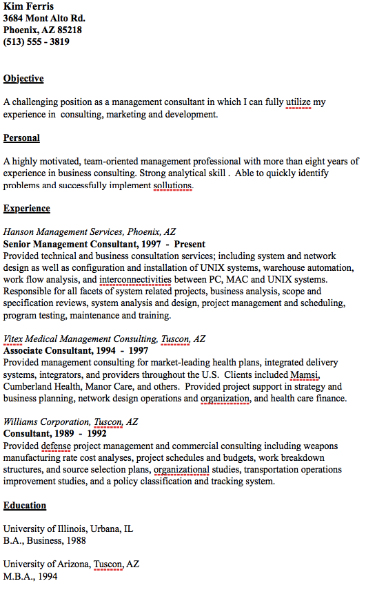 Management Resume Samples Example Of Management Consultant Resume  Httpresumesdesign