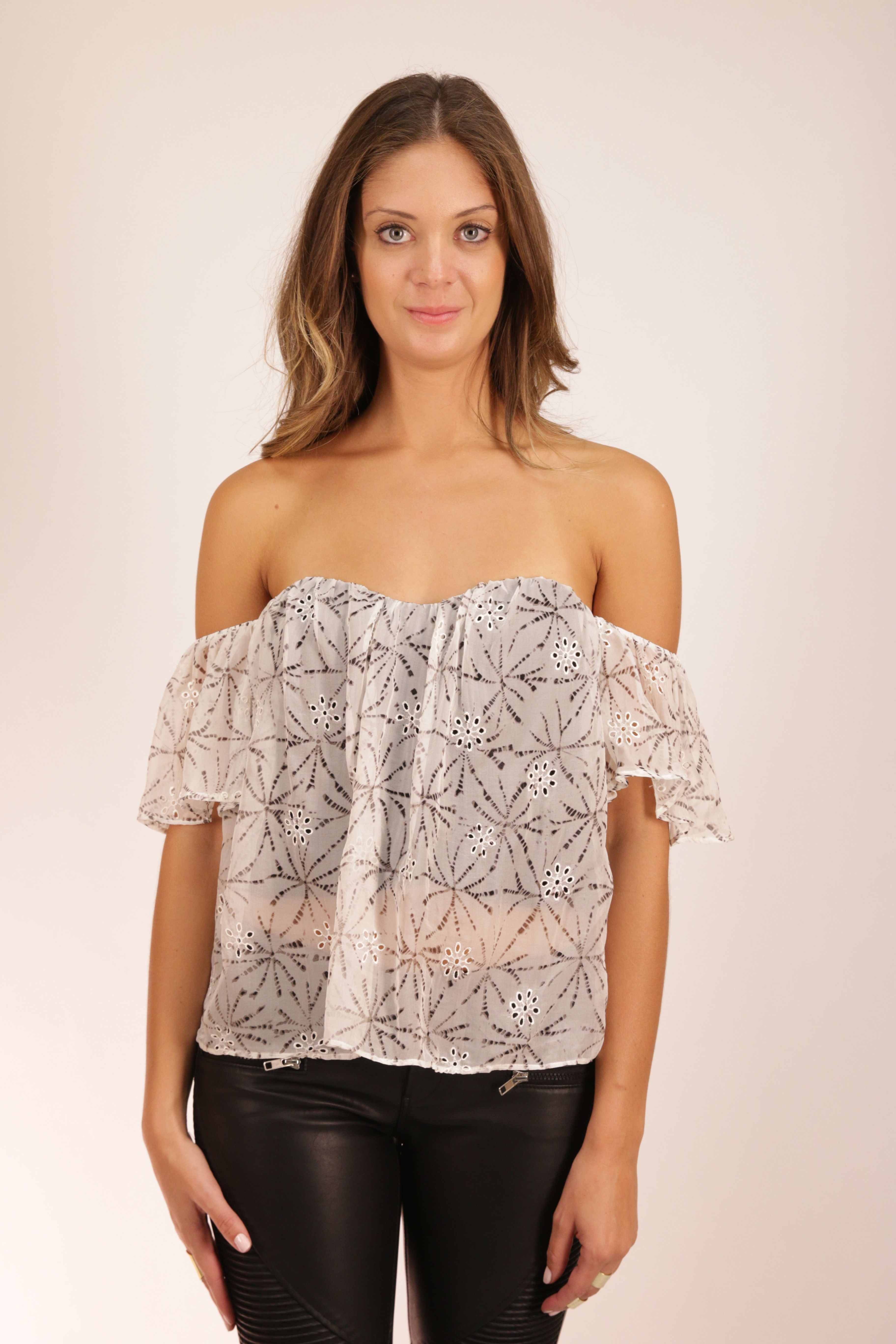 c744bb8397f729 Flare Corset Top by LINE & DOT #eastria Off Shoulder Blouse, Off The