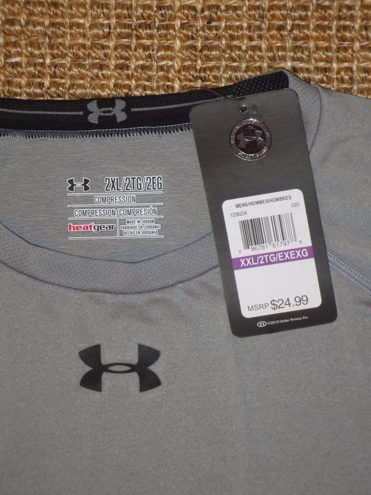 NEW  UNDER  ARMOUR  MEN'S  2XL /  XXL  COMPRESSION  HEAT GEAR  SHIRT  GRAY  NWT #UnderArmour #Jerseys