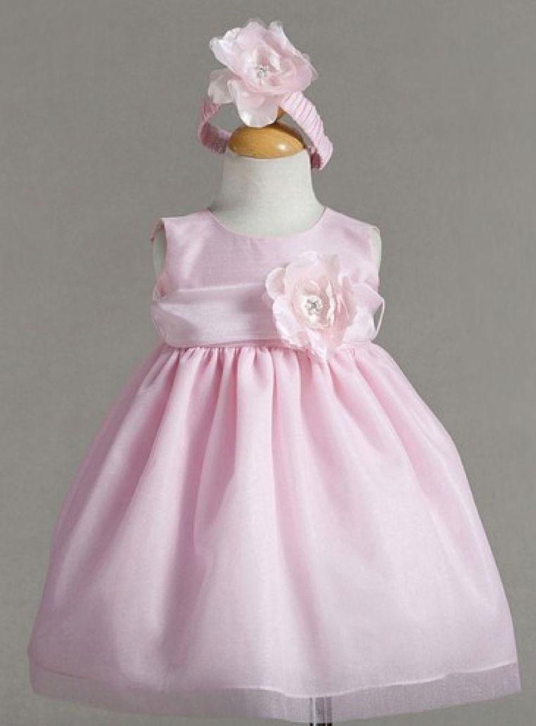 3cb7d5331e Precious Pink Princess Baby Flower Girl Dress Hair Band Set w Flower USA -