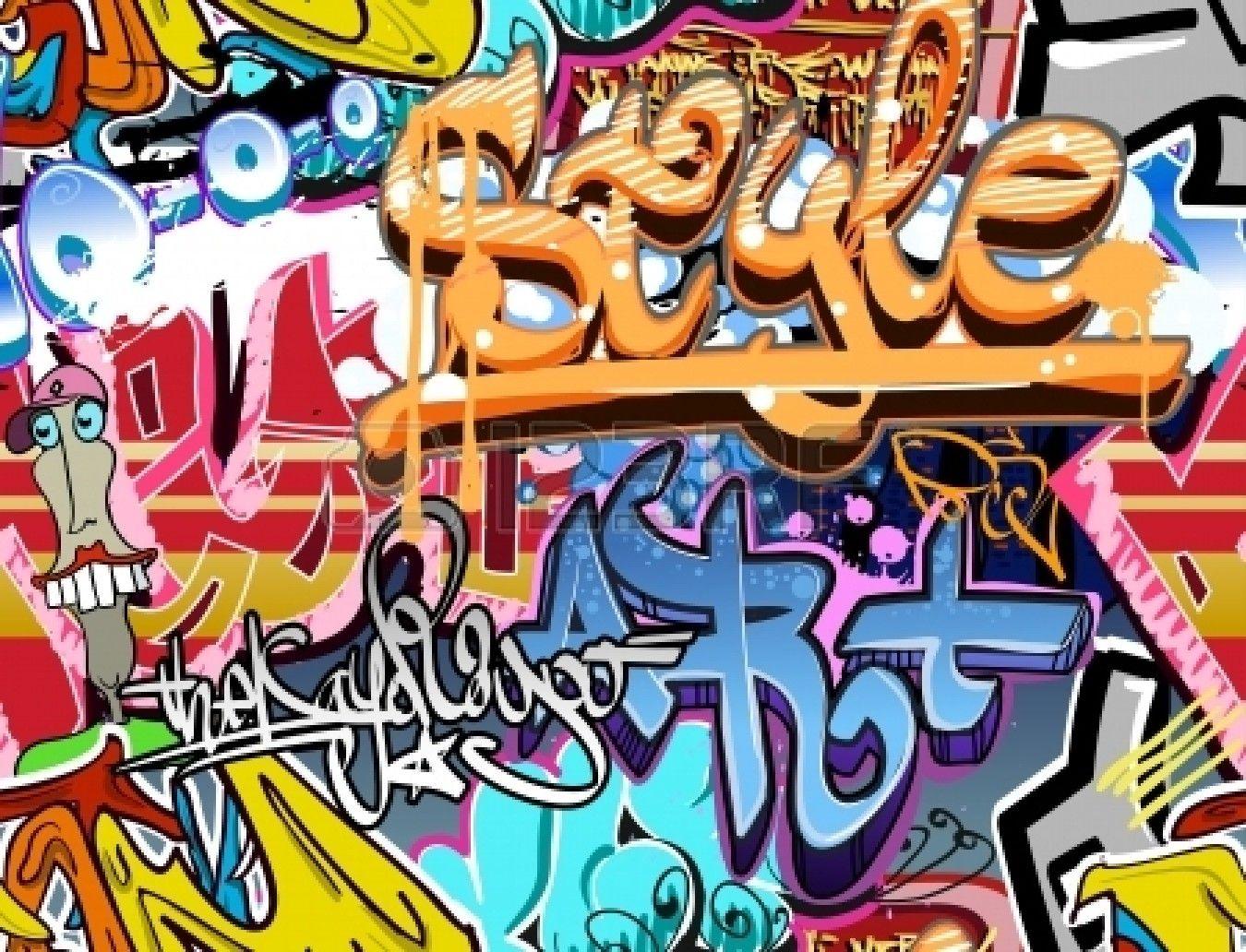 Graffiti wall decal - Graffiti Wall Urban Art Vector Background Seamless Hip Hop Texture