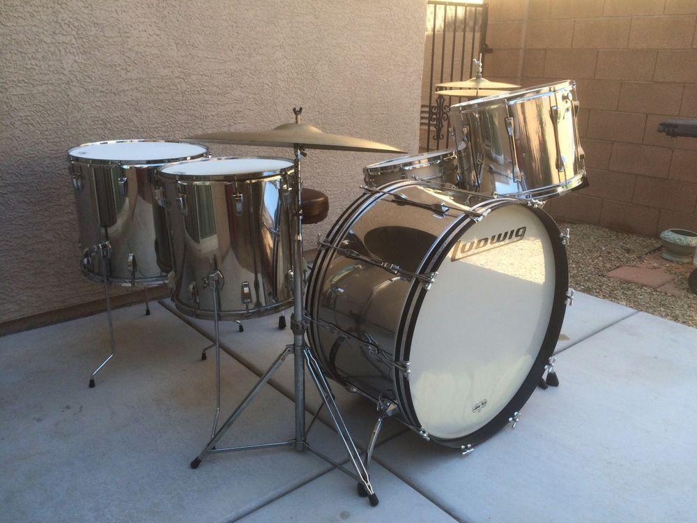 vintage ludwig stainless steel monster set 28 bass drum musical instruments gear. Black Bedroom Furniture Sets. Home Design Ideas